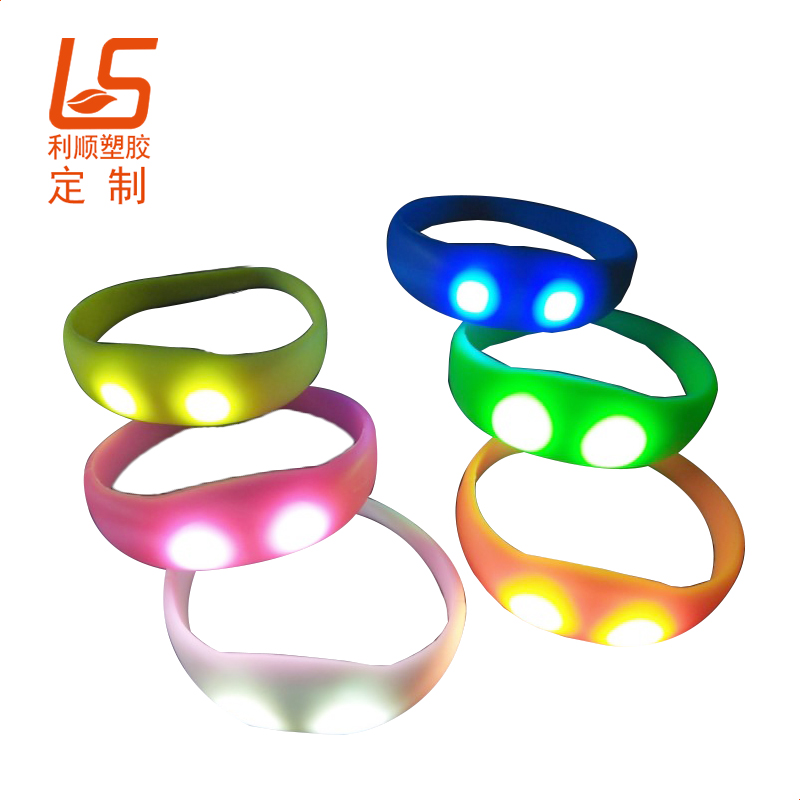 定制助威道具LED发光手环 硅胶声控LED闪灯手环