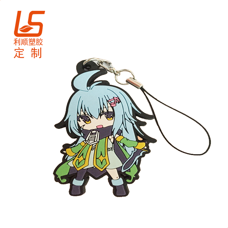 PVC软胶钥匙扣挂绳_单面日本公仔钥匙扣